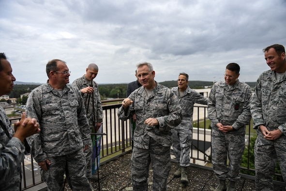 U.S. Air Force Maj. Gen. Timothy G. Fay, United States Air Forces in Europe and Air Forces Africa Deputy Commander, speaks with 86th Airlift Wing Commander Brig. Gen. Richard G. Moore, Jr. and several other commanders during an 86th AW immersion tour at the air traffic control tower on Ramstein Air Base, Germany, Sept. 7, 2017.