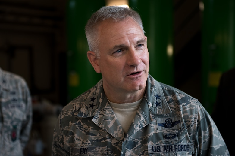 U.S. Air Force Maj. Gen. Timothy G. Fay, United States Air Forces in Europe and Air Forces Africa deputy commander, speaks to Airmen at the 786th Civil Engineer Squadron water plant during an 86th Airlift Wing immersion tour on Ramstein Air Base, Germany, Sept. 7, 2017.