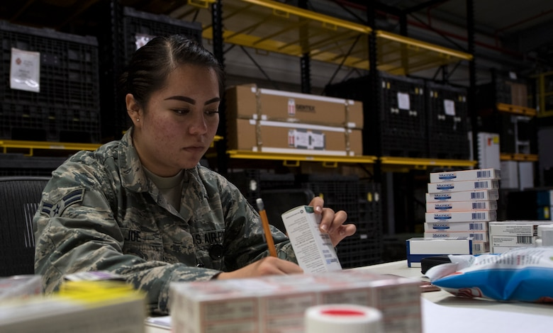 U.S. Air Force Airman 1st Class Mary Joe, 86th Medical Support Squadron medical logistician, takes inventory of medication stored in one of three warehouses on Ramstein Air Base, Germany, Sept. 7, 2017. The 86th MDSS war reserve material service over $30 million worth of supplies and equipment that goes to deployed locations such as Iraq, Iran, and Afghanistan. (U.S. Air Force photo by Senior Airman Tryphena Mayhugh)