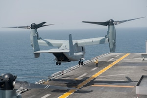 170906-N-ZS023-029 U.S. 5TH FLEET AREA OF RESPONSIBILITY (Sept. 6, 2017)An MV-22 Osprey assigned to Marine Medium Tiltrotor Squadron (VMM) 161 (Reinforced) lifts off from the flight deck of the amphibious assault ship USS America (LHA 6) in support of exercise Alligator Dagger 2017. Alligator Dagger is a dedicated, unilateral combat rehearsal led by Naval Amphibious Force, Task Force 51/5th Marine Expeditionary Brigade, in which combined Navy and Marine Corps units of the America Amphibious Ready Group and embarked 15th Marine Expeditionary Unit are to practice, rehearse and exercise integrated capabilities that are available to U.S. Central Command both afloat and ashore. (U.S. Navy photo by Mass Communication Specialist Seaman Vance Hand/Released)