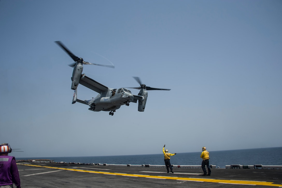 170907-N-ZQ712-163 U.S. 5TH FLEET AREA OF OPERATION (Sept. 7, 2017) An MV-22 Osprey assigned to the Marine Medium Tiltrotor Squadron (VMM) 161 lifts off from the flight deck of the amphibious assault ship USS America (LHA 6) in support of Alligator Dagger 2017. Alligator Dagger is a dedicated, unilateral combat rehearsal led by Naval Amphibious Force, Task Force 51/5th Marine Expeditionary Brigade, in which combined Navy and Marine Corps units of the America Amphibious Ready Group and embarked 15th Marine Expeditionary Unit are to practice, rehearse and exercise integrated capabilities that are available to U.S. Central Command both afloat and ashore. (U.S. Navy photo by Mass Communication Specialist Seaman Apprentice Chad Swysgood/Released)