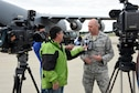 Capt. Craig Conner, 269 Combat Communications Squadron Detachment Commander speaks with the media on the ramp at Wright Patterson Air Force Base, Ohio about their deployment to St. Croix, U.S. Virgin Island in support of the Hurricane Irma relief effort Sept. 7.