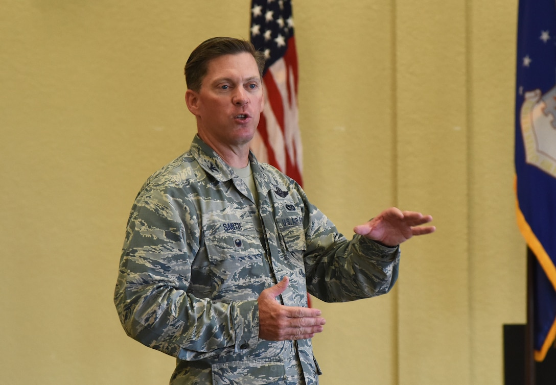 Col. C. Mike Smith, 81st Training Wing vice commander, delivers welcoming remarks during Diversity Day at the Bay Breeze Event Center Sept. 6, 2017, on Keesler Air Force Base, Miss. The cultural celebration included food sampling and information booths about countries around the world and other special emphasis groups. (U.S. Air Force photo by Kemberly Groue)