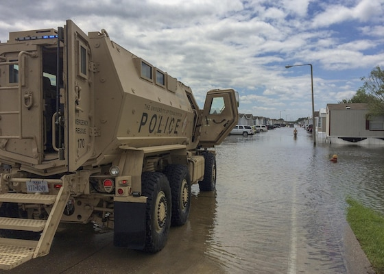 An MRAP operated by the Police officers from the University of Texas System was instrumental in transporting doctors to the school's Houston Medical Center. The former military vehicle also delivered life-saving medical supplies to individuals who could not safely travel in the high water from Hurricane Harvey.