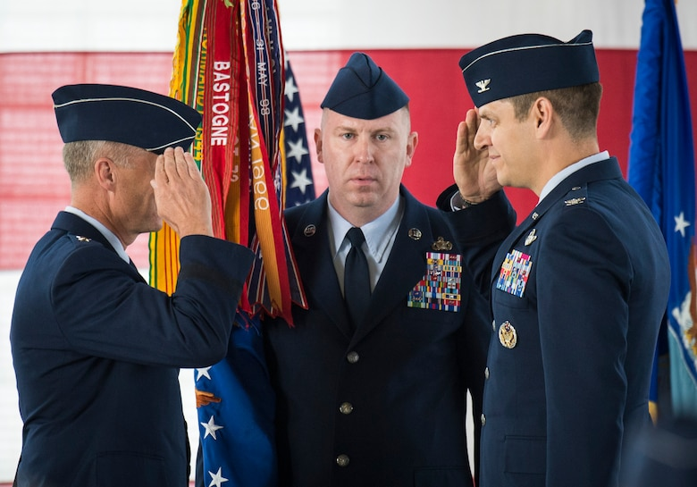 Col. Joseph Kunkel (right) accepts command of the 366th Fighter Wing from 12th Air Force Commander Lt. Gen. Mark D. Kelly at Mountain Home Air Force Base, Idaho, Sept. 8, 2017. Kunkel was previously the 325th Fighter Wing vice commander at Tyndall AFB, Fla. (U.S. Air Force photo/Senior Airman Samuel Morse)