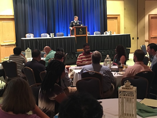 Mobile District Commander Col. James DeLapp speaks at the annual Alabama Water Resources Conference held in Orange Beach, Ala., Sept. 7. DeLapp gave a presentation on the Mobile District and key water resource projects within the state of Alabama.