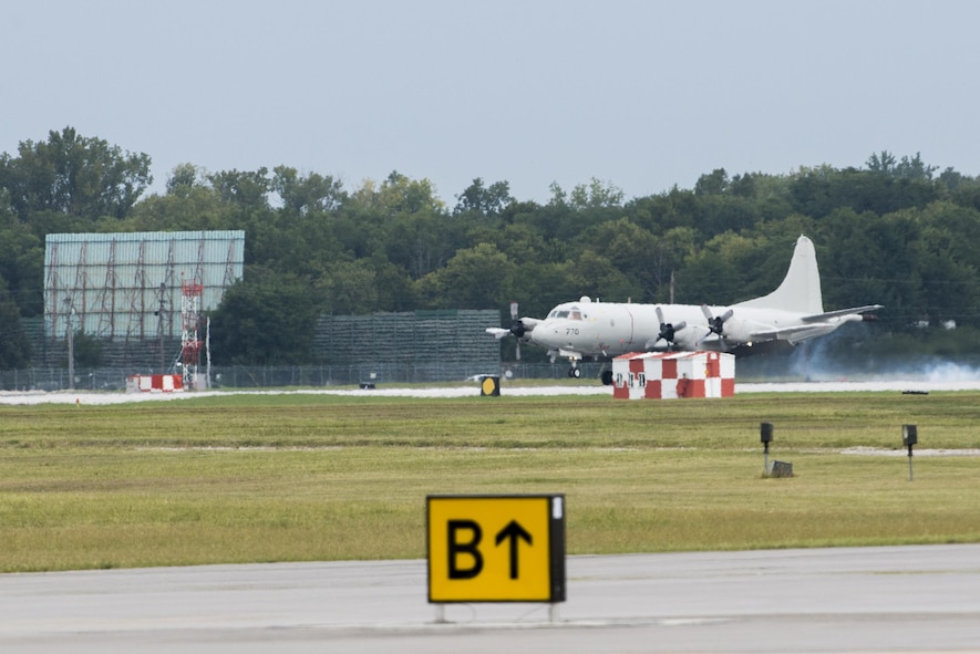 Aircraft land and taxi at WPAFB for Safe Haven support during Hurricane Irma