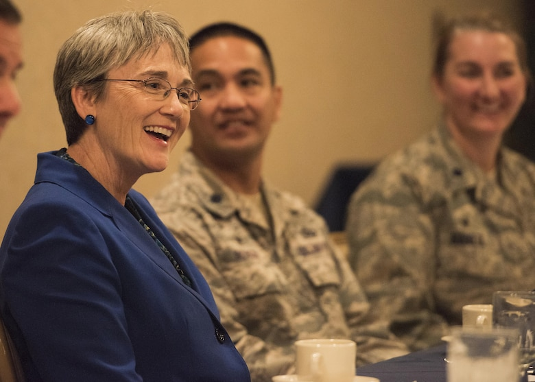 Secretary of the Air Force Heather Wilson speaks with squadron commanders at Minot Air Force Base, N.D., Sept. 7, 2017. This was Wilson's first visit to America's only dual-wing, nuclear-capable military installation as SECAF.