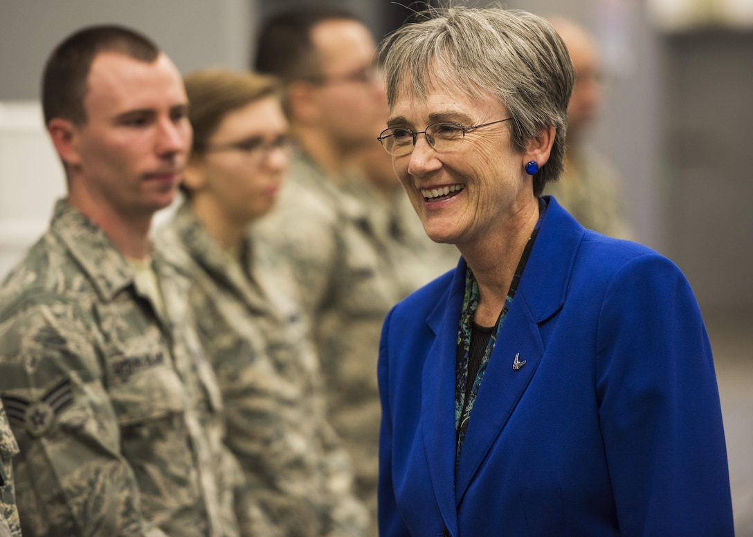 Secretary of the Air Force Heather Wilson speaks with 705th Munitions Squadron Airmen at Minot Air Force Base, N.D., Sept. 7, 2017. During her two-day visit, Wilson toured both 5th Bomb Wing and 91st Missile Wing units and spoke with Airmen emphasizing the importance of the nuclear deterrence mission. (U.S. Air Force photo/Senior Airman J.T. Armstrong)