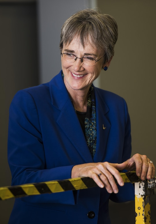 Secretary of the Air Force Heather Wilson tours a 705th Munitions Squadron facility at Minot Air Force Base, N.D., Sept. 7, 2017. During her two-day visit, Wilson toured both 5th Bomb Wing and 91st Missile Wing units and spoke with Airmen emphasizing the importance of the nuclear deterrence mission.(U.S. Air Force photo/Senior Airman J.T. Armstrong)