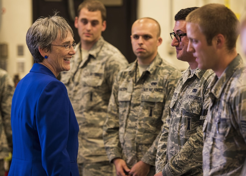 Secretary of the Air Force Heather Wilson speaks with 705th Munitions Squadron Airmen at Minot Air Force Base, N.D., Sept. 7, 2017. This was Wilson's first visit to America's only dual-wing, nuclear-capable military installation as SECAF.