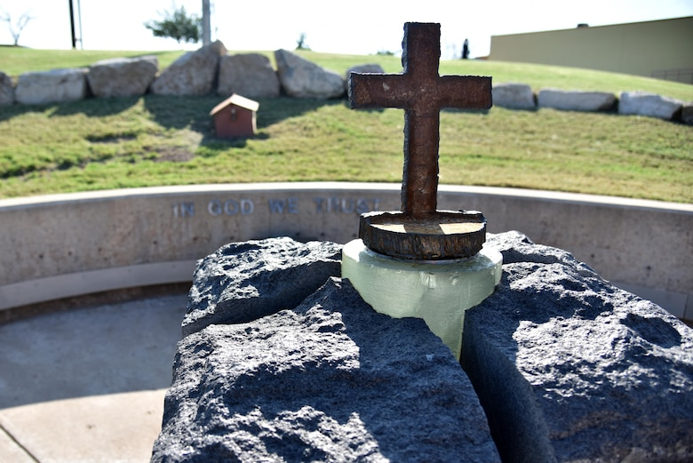 The new 9/11 artifact on display prior to the 9/11 Memorial Rededication near the San Angelo Museum of Fine Arts in San Angelo, Texas, Sept. 8, 2017. In June 2016, unknown vandals stole the original piece of metal from the monument. (U.S. Air Force photo by Staff Sgt. Joshua Edwards/Released)
