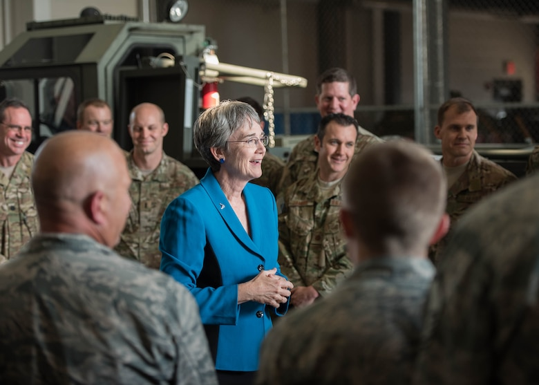Heather Wilson, the Secretary of the Air Force, praised Airmen of the 123rd Airlift Wing for their support of hurricane relief operations during a visit to the Kentucky Air National Guard Base in Louisville, Ky., Sept. 8, 2017. The wing has deployed more than 80 Airmen for rescue and recovery missions in the wake of Hurricanes Harvey and Irma since Aug. 27