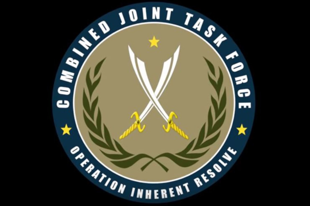 The circular Combined Joint Task Force Operation Inherent Resolve logo includes crossed swords against a beige background, framed by leafed branches.