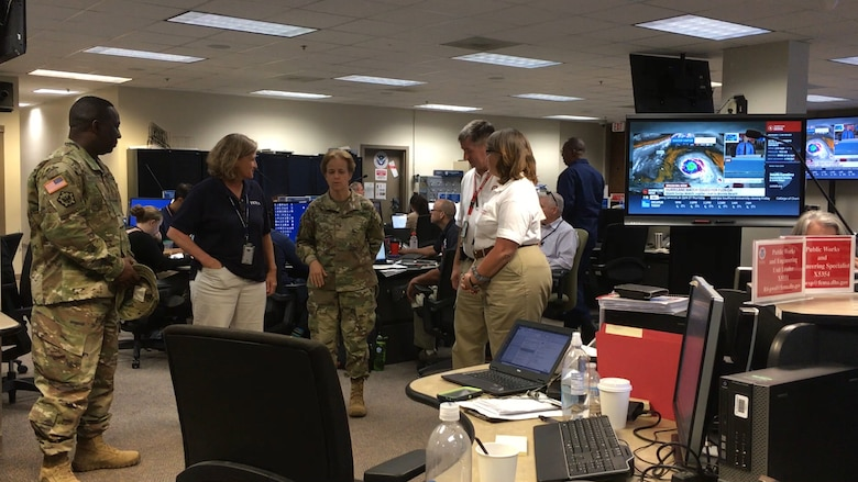ATLANTA, GA- U.S. Army Corps of Engineers Southern Atlantic Division's (USACE SAD) Brigadier General Diana Holland, went to FEMA's Region 4 Response Coordination Center (RRCC) in Atlanta, GA, Sep. 7, 2017.