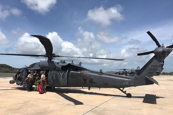 Airmen from the Kentucky Air National Guard's 123rd Special Tactics Squadron and New York Air National Guard's 106th Rescue Wing prepare to depart St. Croix, U.S. Virgin Islands, for St. Thomas, U.S. Virgin Islands, on Sept. 8, 2017, for rescue operations in the wake of Hurricane Irma.