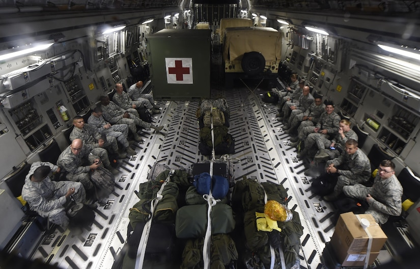 En-Route Patient Staging System and a 15-person medical team prepares for takeoff from MacDill Air Force Base, Florida Sept. 8, 2017.