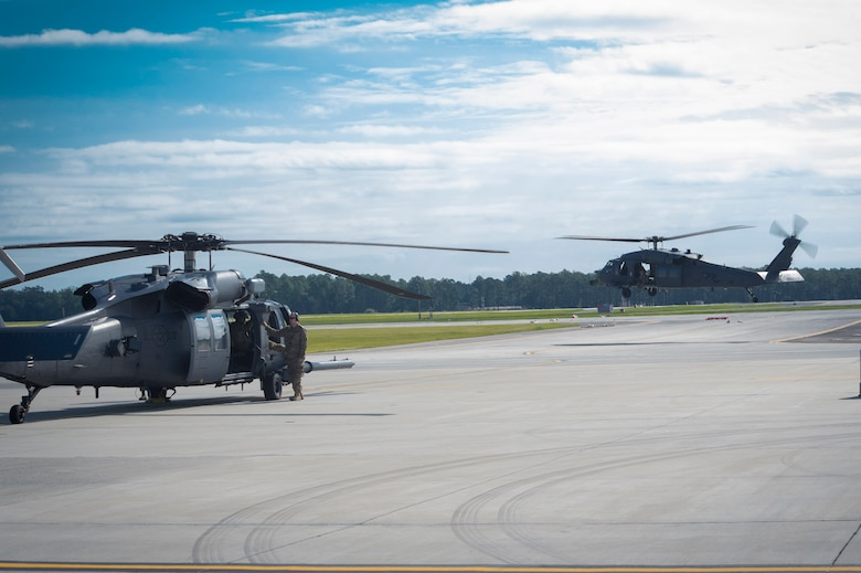 Moody HH-60G Pavehawks prepare to launch in support of Hurricane Irma, Sept. 9, 2017, at Moody Air Force Base, Ga. Team Moody aircraft and rescue assets travelled to Columbus Air Force Base, Miss., for shelter before re-engaging with other Moody assets to assist the Federal Emergency Management Agency and other first responder agencies during upcoming Hurricane Irma in the Southeast region. (U.S. Air Force photo by Senior Airman Greg Nash)