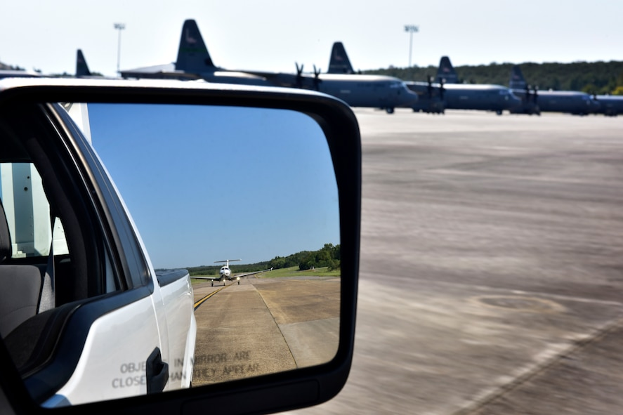 A PC-12 assigned to Hurlburt Field, Fla., taxis behind the follow truck to a parking spot after landing Sept. 9, 2017, at Little Rock Air Force Base, Ark.