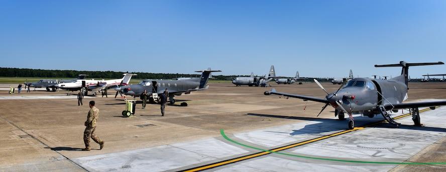 Members from Hurlburt Field, Fla., do final checks on their U-28A aircraft after landing Sept. 9, 2017, at Little Rock Air Force Base, Ark.