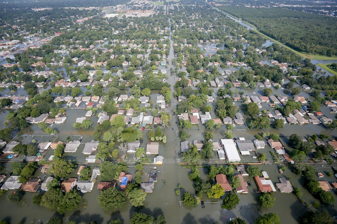 Flooded area in southeast Texas