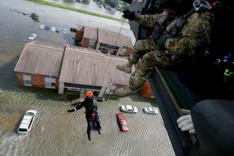 Rescue operations in flooded area of Southeast Texas