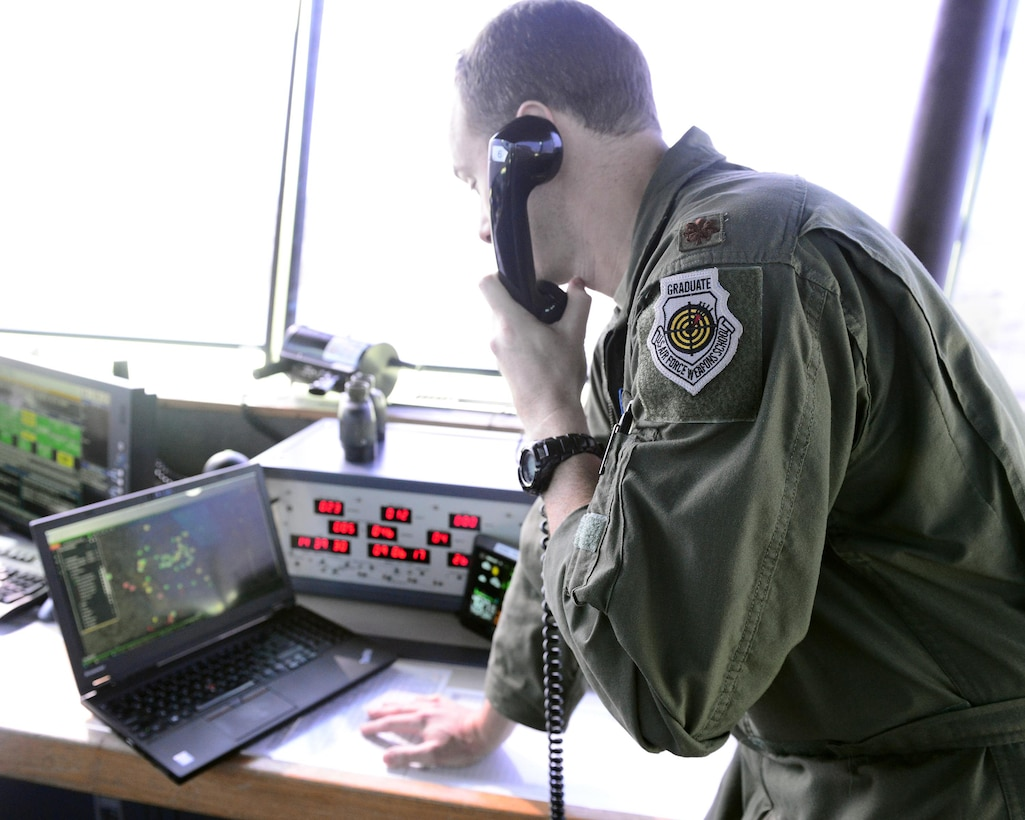 147th Attack Wing member in control tower