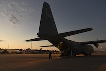 Staff Sgt. Efrain Huereque, 41st Airlift Squadron loadmaster, prepares a C-130J for flight Sept. 9, 2017, at the George Bush Intercontinental Airport, Texas. The 41st AS, stationed at Little Rock Air Force Base, Ark., delivered U.S. Public Health Rapid Deployment Forces and state-based Disaster Medical Assistance Teams to Orlando, Fla., to prepare for medical response after Hurricane Irma passes through Florida. (U.S. Air Force photo by Senior Airman Mercedes Taylor)