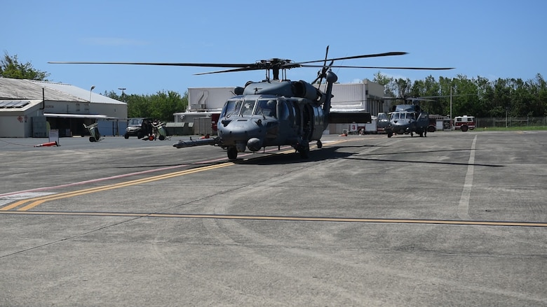 Two New York Air National Guard UH-60 Black Hawk helicopters prepare to deploy on the noncombatant evacuation operation to St. Maarten from the staging area of Muñiz Air National Guard Base in Carolina, Puerto Rico, Sept. 9.