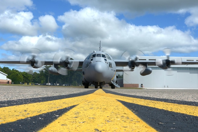 A C-130 Hercules prepares to take off from Bradley Air National Guard Base in East Granby, Conn., September 9, 2017, for a mission to deliver ready-to-eat meals to people in Puerto Rico affected by Hurricane Irma. Air Force photo by Airman 1st Class Sadie Hewes