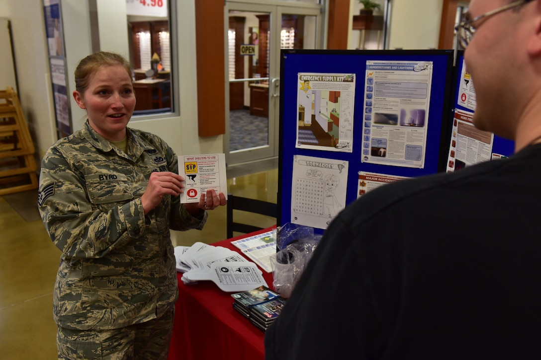 Staff Sgt. Dayna Byrd, 19th Civil Engineer Squadron non-commissioned officer in charge of emergency management plans and operations, shows the proper shelters for different natural disasters Sept. 8, 2017, at Little Rock Air Force Base, Ark. September is National Preparedness Month, with this year's emphasis on different ways to prepare for emergency situations. (U.S. Air Force photo by Airman Rhett Isbell)