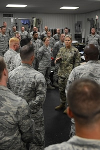 Lt. Col. Elizabeth Evans, 53rd Brigade Engineer Battalion Commander, speaks to the 202nd REDHORSE team as they stand by for Hurricane Irma to pass, Sept. 10, 2017.
