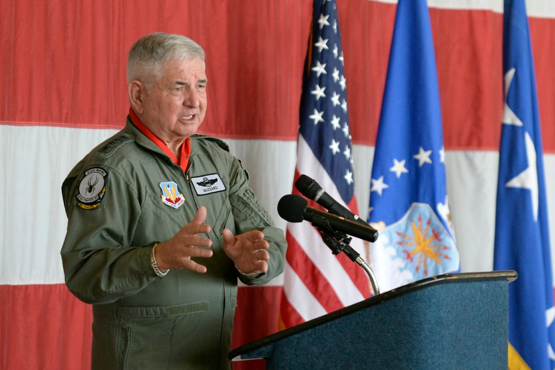 Retired Air Force Chief of Staff Gen. Ronald R. Fogleman addresses guests at the Viper Out ceremony, a farewell to the F-16, Sept. 8, 2017, at Hill Air Force Base, Utah.