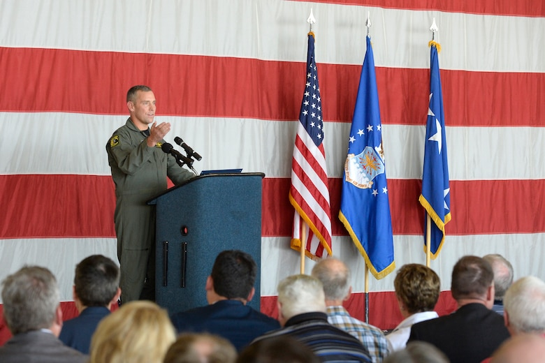 Col. David W. Smith, 419th Fighter Wing commander, addresses guests at the Viper Out ceremony, a farewell to the F-16, Sept. 8, 2017, at Hill Air Force Base, Utah.  Smith spoke about the F-16's enduring legacy. (U.S. Air Force photo by Todd Cromar)