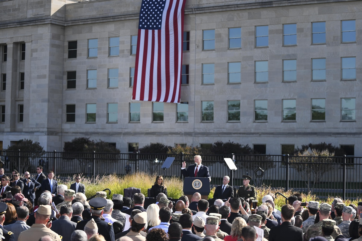 U.S. leaders take part in the 9/11 remembrance ceremony at the Pentagon.