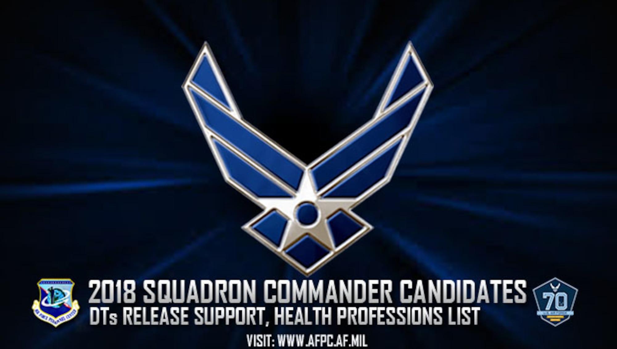 2018squadron commander candiates for support, health professions