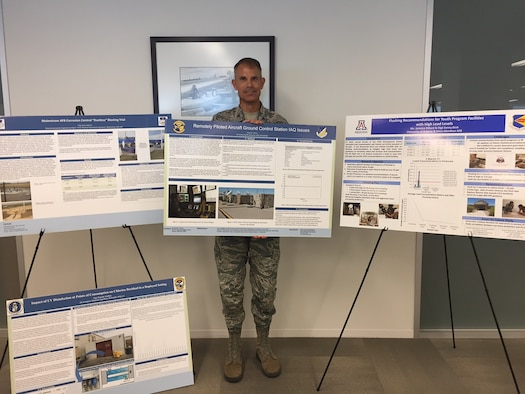 Col. Phillip Goff holding research posters from Team Aerospace Operations Solutions conference.