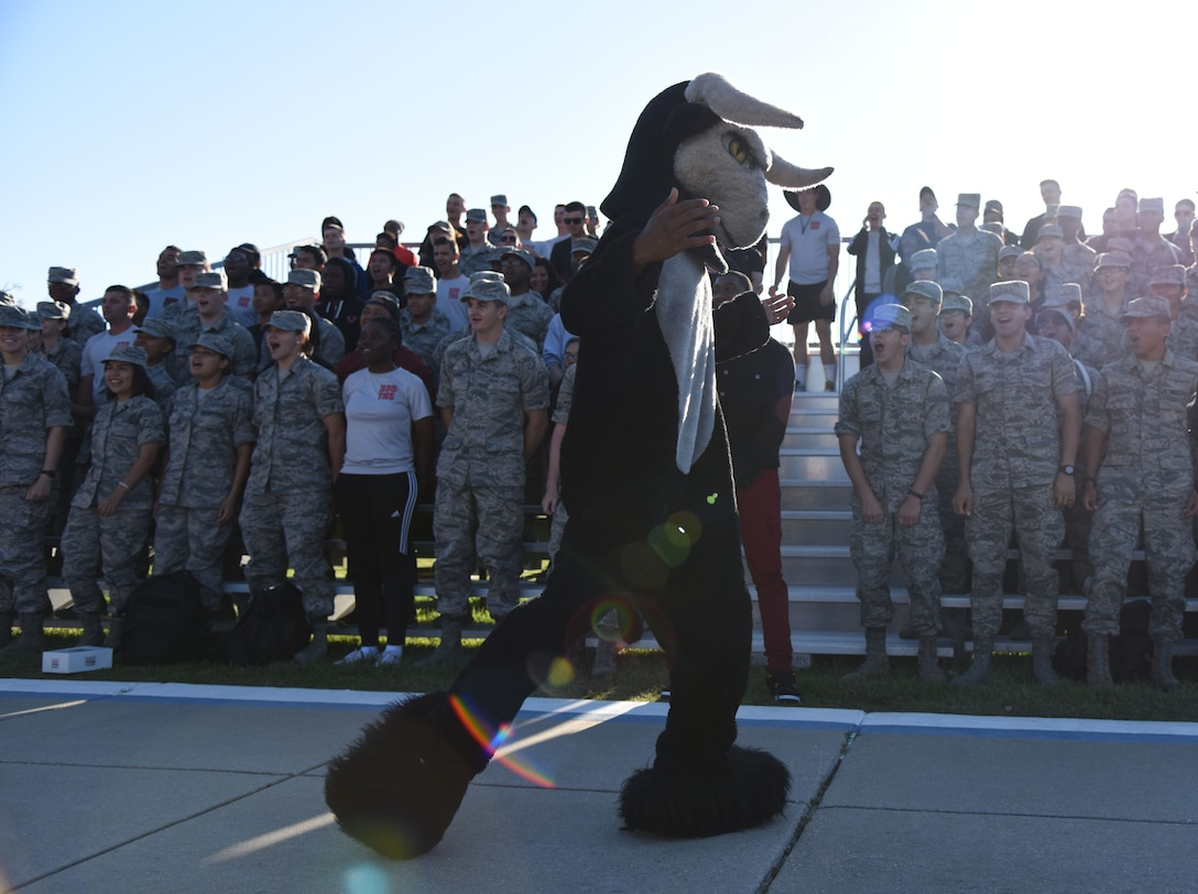 "The 335th Training Squadron mascot dances during the 81st Training Group drill down on the Levitow Training Support Facility drill pad Sept. 8, 2017, on Keesler Air Force Base, Mississippi. Airmen from the 81st TRG competed in a quarterly open ranks inspection, regulation drill routine and freestyle drill routine. The 334th TRS ""Gators"" took first place this quarter. (U.S. Air Force photo by Kemberly Groue)"