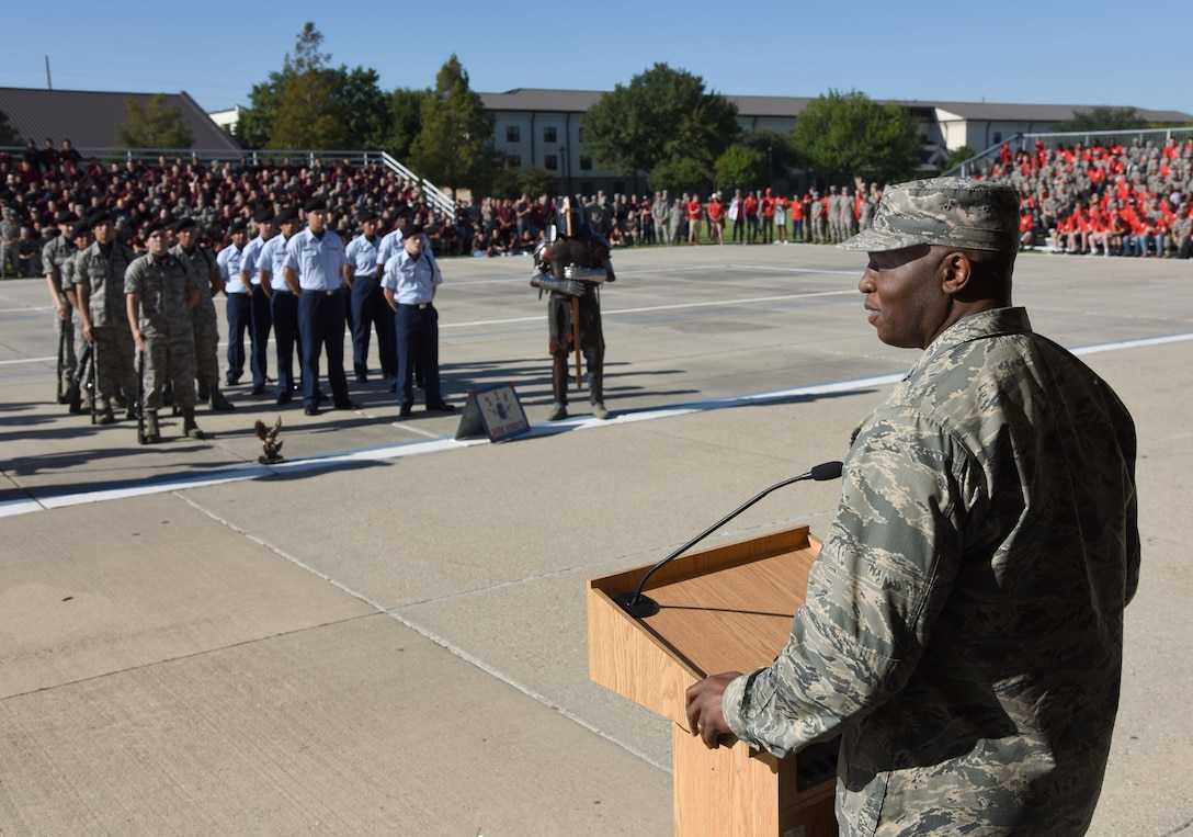 """Col. Leo Lawson, Jr., 81st Training Group commander, delivers remarks during the 81st Training Group drill down on the Levitow Training Support Facility drill pad Sept. 8, 2017, on Keesler Air Force Base, Mississippi. Airmen from the 81st TRG competed in a quarterly open ranks inspection, regulation drill routine and freestyle drill routine. The 334th TRS """"Gators"""" took first place this quarter. (U.S. Air Force photo by Kemberly Groue)"""
