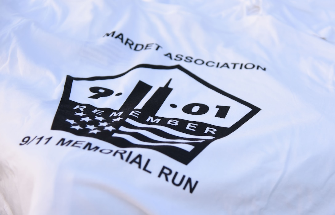 A commemorative T-shirt is on display during a 3.7 mile remembrance run across the Ocean Springs/Biloxi Bridge Sept. 9, 2017, in Mississippi. The event honored those who lost their lives during the 9/11 attacks. (U.S. Air Force photo by Kemberly Groue)