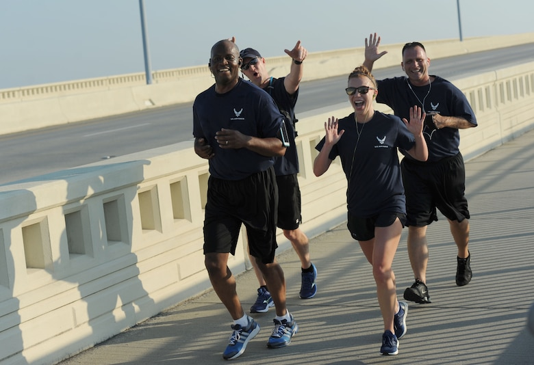 Leadership from the 81st Training Group participate in the Keesler Air Force Base Marine Detachment 3.7 mile remembrance run across the Ocean Springs/Biloxi Bridge Sept. 9, 2017, in Mississippi. The event honored those who lost their lives during the 9/11 attacks. (U.S. Air Force photo by Kemberly Groue)