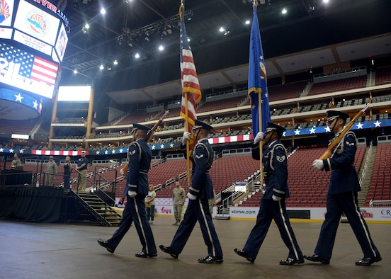 Members of the Luke Air Force Base Honor Guard perform a color guard ceremony during the 9/11 Tower Challenge Sept. 8, 2017 at Gila River Area in Glendale, Ariz. The 9/11 Tower Challenge was held to honor first responders who lost their lives during the Sept. 11, 2001 attacks and to show their support to first responders and military members who continue to protect the U.S. from foreign and domestic threats. (U.S. Air Force photo by Senior Airman Devante Williams)