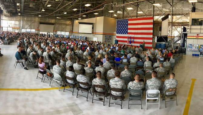 Airmen, retirees, civic leaders, and elected officials gather to bid farewell to the F-16 Fighting Falcon