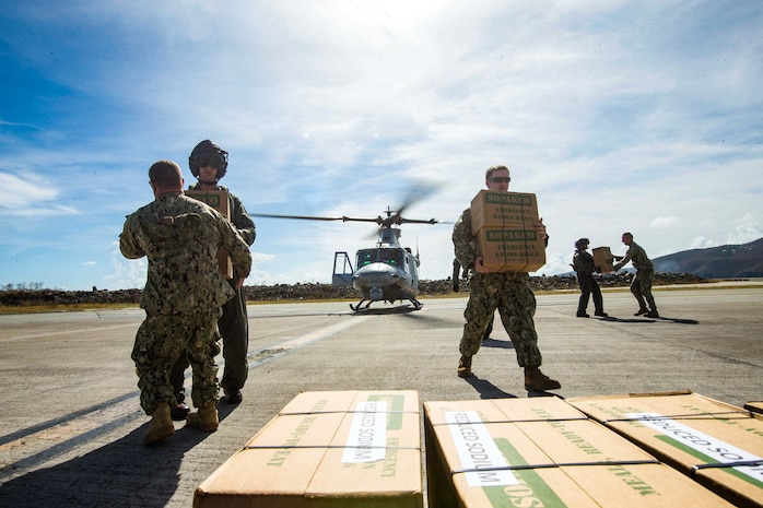 U.S. Marines with the 26th Marine Expeditionary Unit (MEU), deliver food and water by way of UH-1Y Venom helicopters to St. Thomas Cyril King E. Airport, U.S. Virgin Islands in order to aid victims of Hurricane Irma in the U.S. Virgin Islands, Sept. 10, 2017. The 26th MEU is supporting the lead federal agency in providing humanitarian relief efforts for Hurricane Irma.