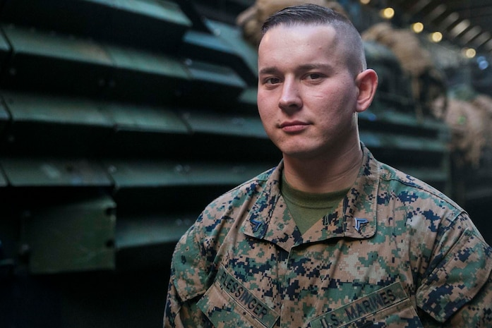 Cpl. Garret Plessinger, an assault amphibious vehicle maintenance chief with the 31st Marine Expeditionary Unit, is a native of Coatsville, Indiana.