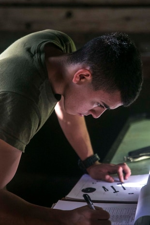 Lance Cpl. Marco A. Ceballos, a motor transportation mechanic with Combat Logistics Battalion 31, 31st Marine Expeditionary Unit, conducts a vehicle inspection aboard the USS Ashland (LSD 48) while underway in the Pacific Ocean, July 18, 2017.