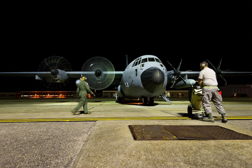 Photo of WC-130J preparing for take off.
