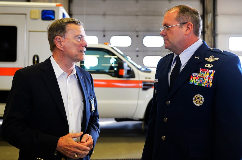 U.S. Air Force Brig. Gen. Richard G. Moore, 86th Airlift Wing commander, right, speaks with retired Col. Kenneth Cordier, left, a former prisoner of war, after a 9/11 retreat ceremony on Ramstein Air Base, Germany, Sept. 11, 2017. The event was attended by distinguished visitors and first responders in the Kaiserslautern Military Community. (U.S. Air Force photo by Airman 1st Class Joshua Magbanua)