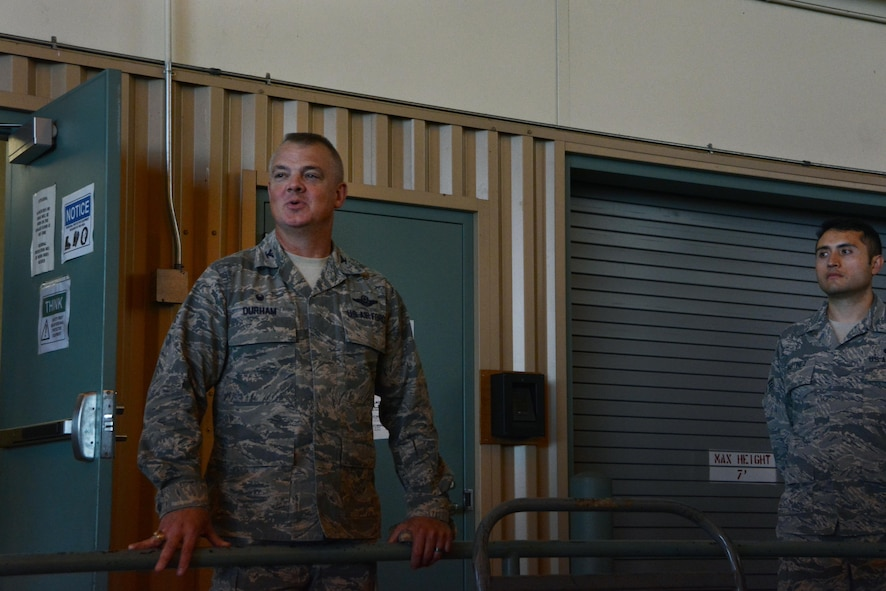 Col. D. Scott Durham, Westover Air Reserve Base Wing Commander, addresses Westover deployers September 11, 2017, in Hangar Three. Over 50 Reserve Citizen Airmen deployed to Homestead Air Reserve Base, Florida, to assist in Hurricane Irma relief efforts. (U.S. Air Force photo by Airman Hanna N. Smith)