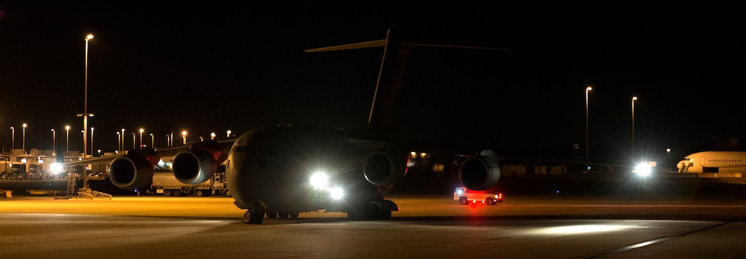 Air Mobility Command C-17s and crews from Joint Base Charleston prepare to depart from Washington Dulles International Airport to support a tasking from the U.S. Department Health and Human Services to transport apporximately 300 healthcare professionals to Orlando International Airport in preparation for Hurricane Irma disaster response operations. This mission will give reach to the hands that heal. (U.S. Air Force photo by Senior Airman Rusty Frank/Released)